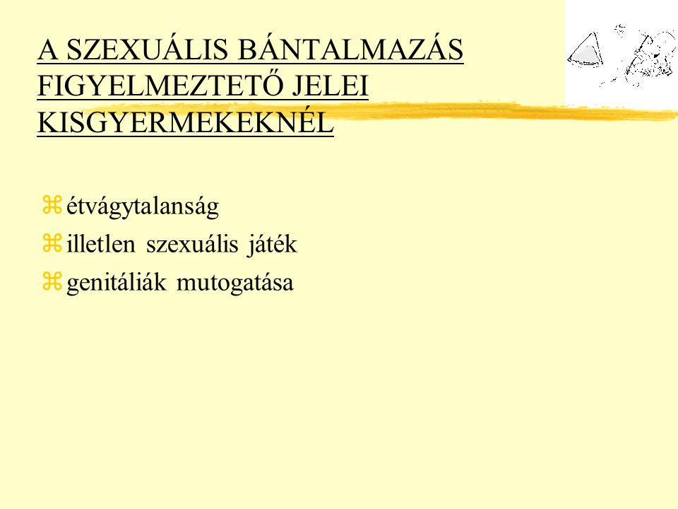 A SZEXUÁLIS BÁNTALMAZÁS FIGYELMEZTETŐ JELEI KISGYERMEKEKNÉL zétvágytalanság zilletlen szexuális játék zgenitáliák mutogatása