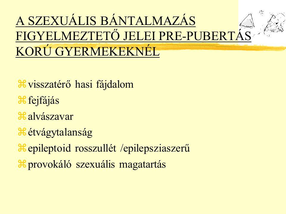 A SZEXUÁLIS BÁNTALMAZÁS FIGYELMEZTETŐ JELEI PRE-PUBERTÁS KORÚ GYERMEKEKNÉL zvisszatérő hasi fájdalom zfejfájás zalvászavar zétvágytalanság zepileptoid rosszullét /epilepsziaszerű zprovokáló szexuális magatartás