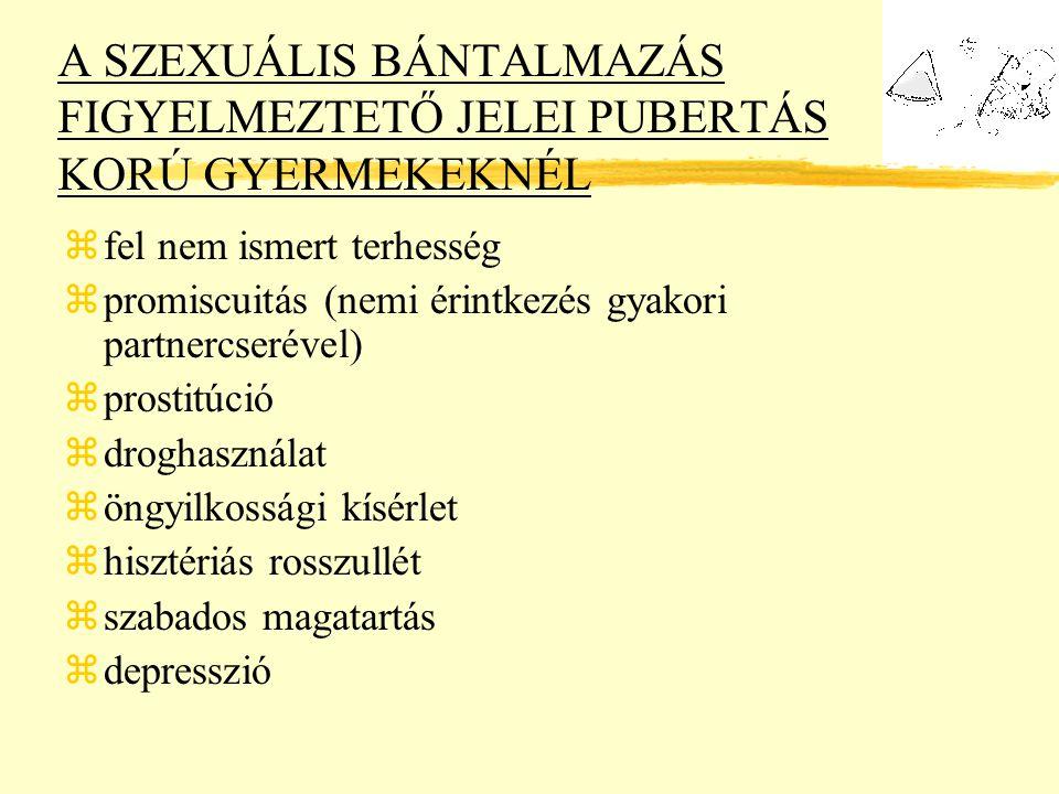 A SZEXUÁLIS BÁNTALMAZÁS FIGYELMEZTETŐ JELEI PUBERTÁS KORÚ GYERMEKEKNÉL zfel nem ismert terhesség zpromiscuitás (nemi érintkezés gyakori partnercserével) zprostitúció zdroghasználat zöngyilkossági kísérlet zhisztériás rosszullét zszabados magatartás zdepresszió
