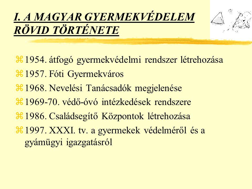 I.A MAGYAR GYERMEKVÉDELEM RÖVID TÖRTÉNETE z1954. átfogó gyermekvédelmi rendszer létrehozása z1957.