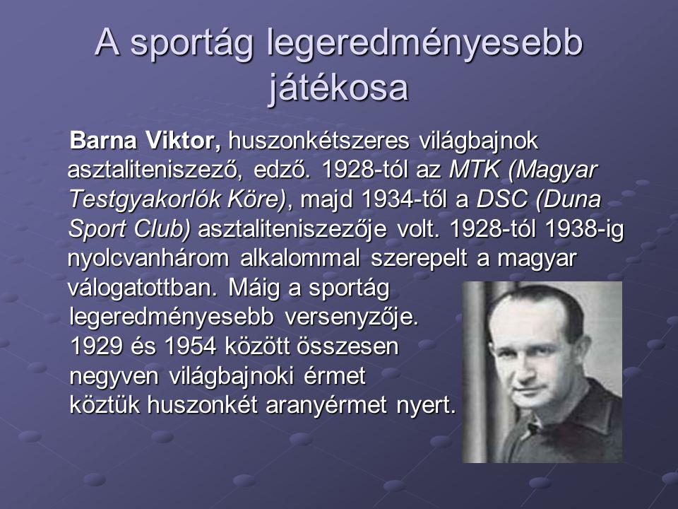 A sportág legeredményesebb játékosa Barna Viktor, huszonkétszeres világbajnok asztaliteniszező, edző. 1928-tól az MTK (Magyar Testgyakorlók Köre), maj