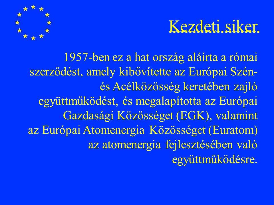 Kezdeti siker 1957-ben ez a hat ország aláírta a római szerződést, amely kibővítette az Európai Szén- és Acélközösség keretében zajló együttműködést, és megalapította az Európai Gazdasági Közösséget (EGK), valamint az Európai Atomenergia Közösséget (Euratom) az atomenergia fejlesztésében való együttműködésre.