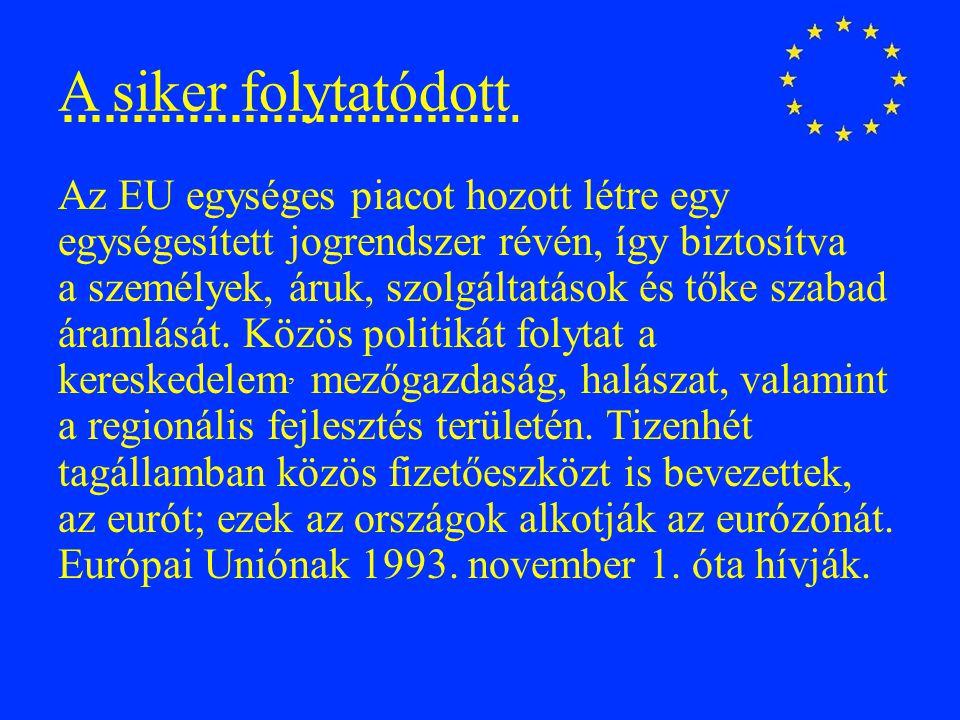 Bővítések 1.1973 – Dánia, Írország, Egyesült Királyság 2.1981 – Görögország 3.1983 – Spanyolország, Portugália 4.1995 – Ausztria, Svédország, Finnország 5.2004 – Málta, Ciprus, Szlovénia, Észtország, Lettország, Litvánia, Csehország, Szlovákia, Magyarország 6.2007 – Románia, Bulgária 7.2013 - Horvátország