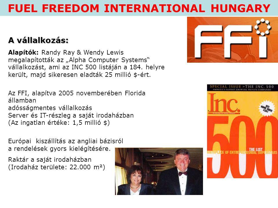 """FUEL FREEDOM INTERNATIONAL HUNGARY A vállalkozás: Alapítók: Randy Ray & Wendy Lewis megalapították az """"Alpha Computer Systems"""" vállalkozást, ami az IN"""