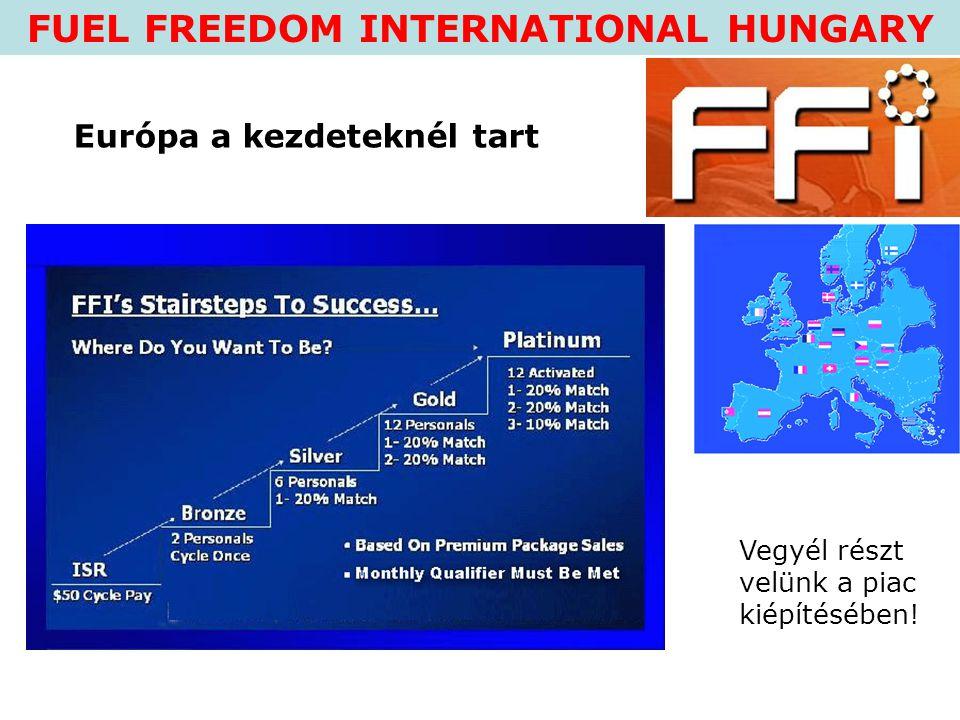 FUEL FREEDOM INTERNATIONAL HUNGARY Vegyél részt velünk a piac kiépítésében! Európa a kezdeteknél tart