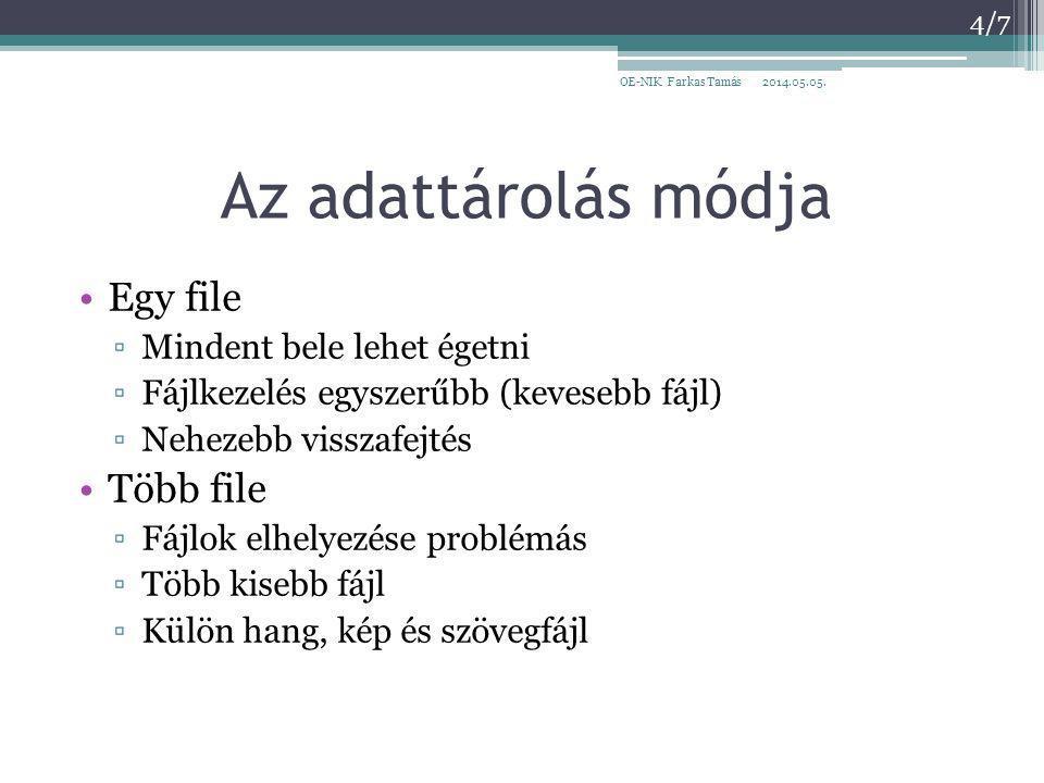 Az adattárolás módja Egy file ▫Mindent bele lehet égetni ▫Fájlkezelés egyszerűbb (kevesebb fájl) ▫Nehezebb visszafejtés Több file ▫Fájlok elhelyezése problémás ▫Több kisebb fájl ▫Külön hang, kép és szövegfájl 2014.05.05.OE-NIK Farkas Tamás 4/7