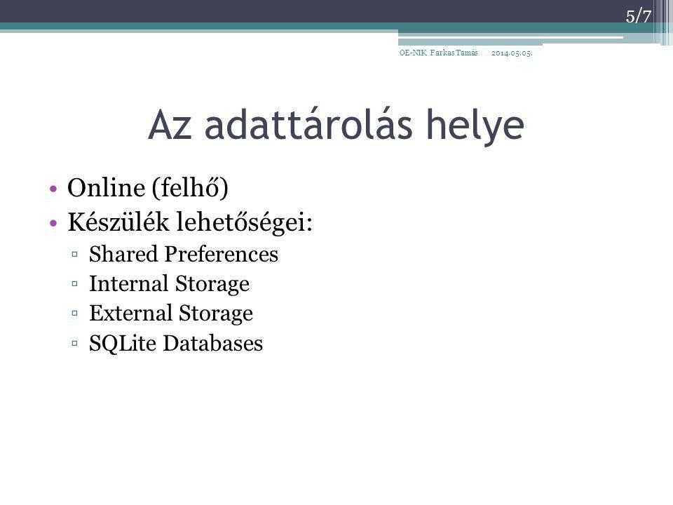 Az adattárolás helye Online (felhő) Készülék lehetőségei: ▫Shared Preferences ▫Internal Storage ▫External Storage ▫SQLite Databases 2014.05.05.OE-NIK Farkas Tamás 5/7