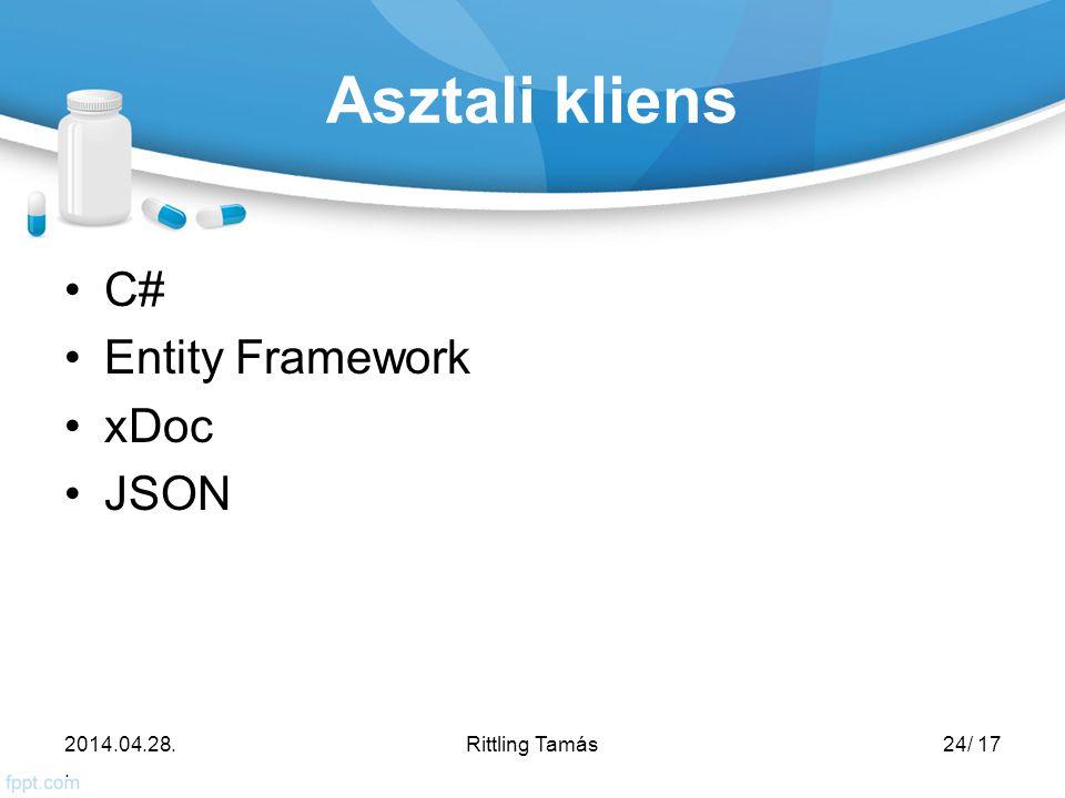 Asztali kliens C# Entity Framework xDoc JSON 2014.04.28.. Rittling Tamás24/ 17
