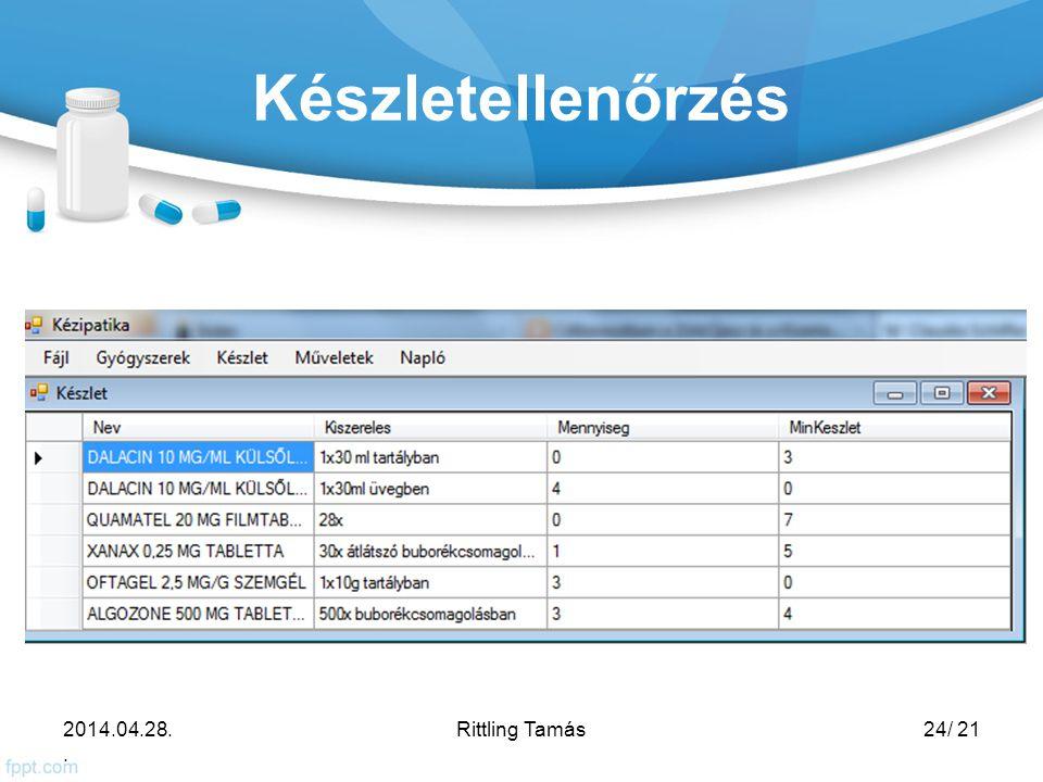 Készletellenőrzés 2014.04.28.. Rittling Tamás24/ 21