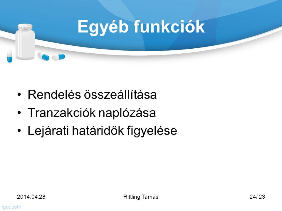Egyéb funkciók Rendelés összeállítása Tranzakciók naplózása Lejárati határidők figyelése 2014.04.28..