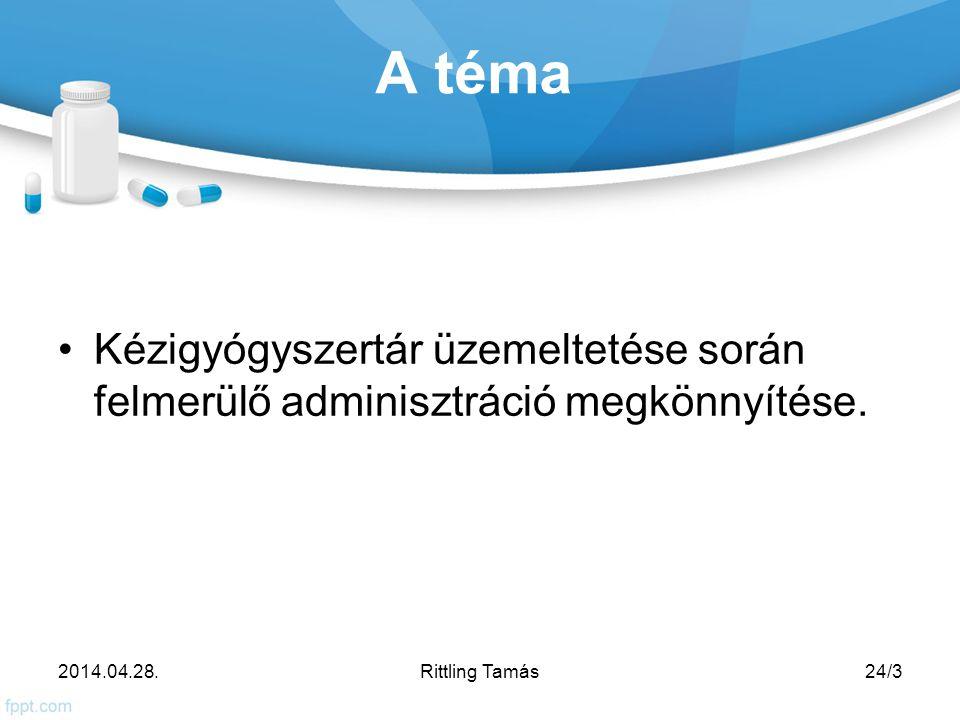 A téma Kézigyógyszertár üzemeltetése során felmerülő adminisztráció megkönnyítése.