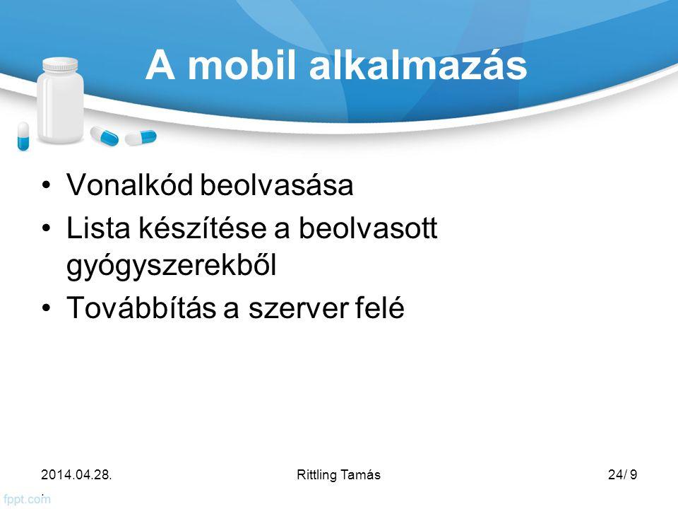 A mobil alkalmazás Vonalkód beolvasása Lista készítése a beolvasott gyógyszerekből Továbbítás a szerver felé 2014.04.28..