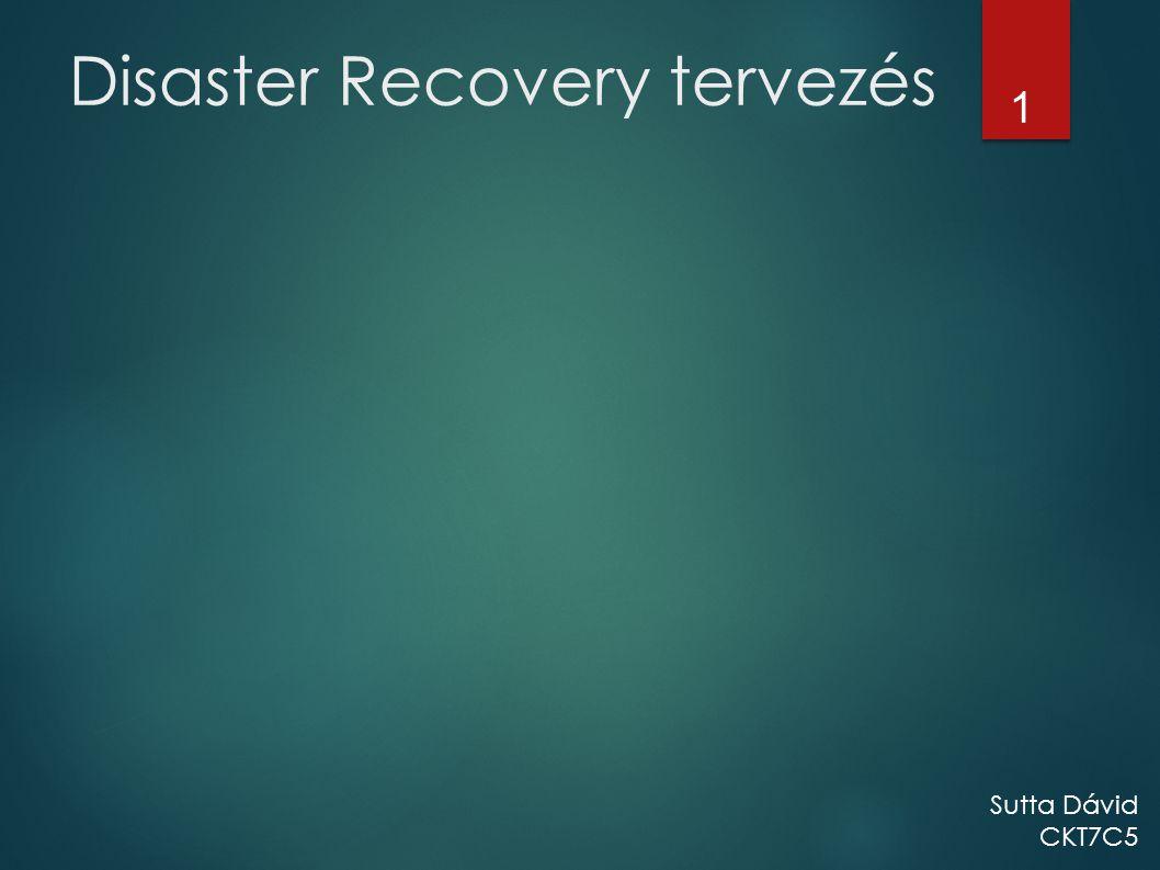 Disaster Recovery tervezés 1 Sutta Dávid CKT7C5