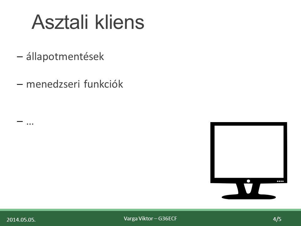 2014.05.05. Varga Viktor – G36ECF 4/5 Asztali kliens –állapotmentések –menedzseri funkciók –…–…