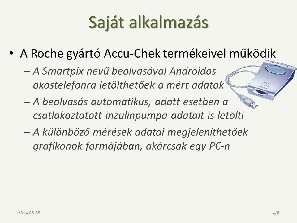 Saját alkalmazás A Roche gyártó Accu-Chek termékeivel működik – A Smartpix nevű beolvasóval Androidos okostelefonra letölthetőek a mért adatok – A beolvasás automatikus, adott esetben a csatlakoztatott inzulinpumpa adatait is letölti – A különböző mérések adatai megjeleníthetőek grafikonok formájában, akárcsak egy PC-n 2014.05.05.4/6