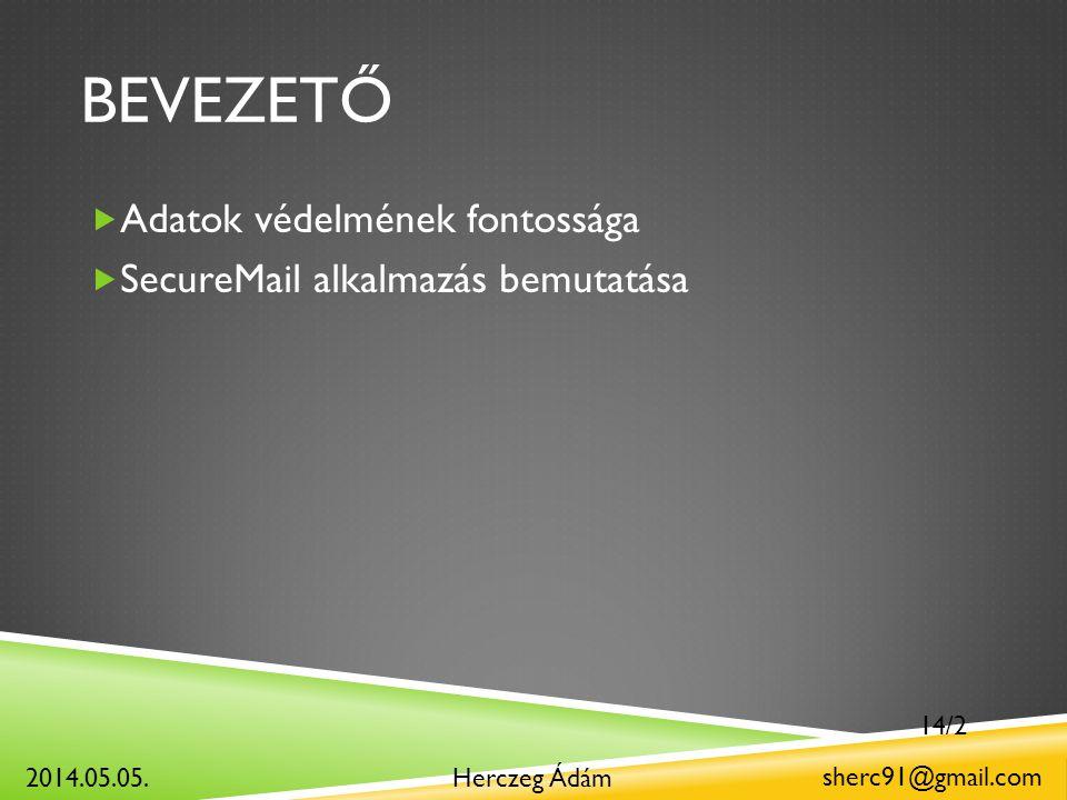 BEVEZETŐ  Adatok védelmének fontossága  SecureMail alkalmazás bemutatása Herczeg Ádám sherc91@gmail.com 2014.05.05.