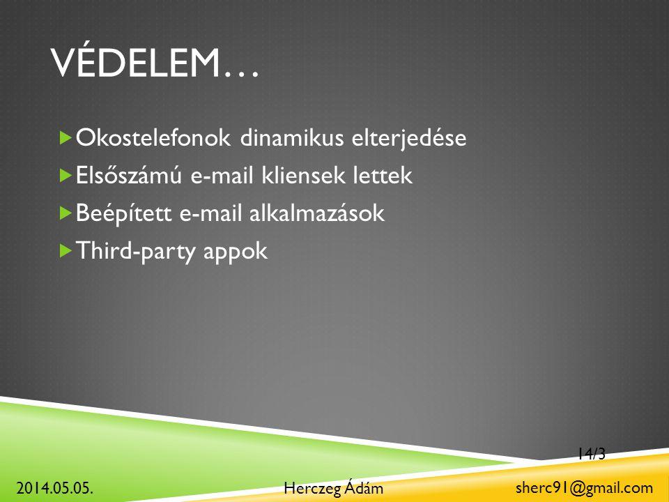 VÉDELEM…  Okostelefonok dinamikus elterjedése  Elsőszámú e-mail kliensek lettek  Beépített e-mail alkalmazások  Third-party appok Herczeg Ádám sherc91@gmail.com 2014.05.05.