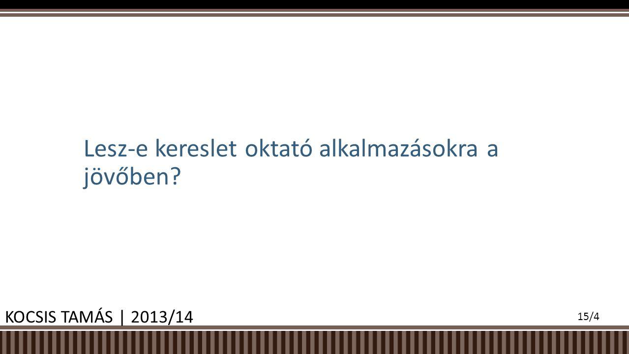 Lesz-e kereslet oktató alkalmazásokra a jövőben KOCSIS TAMÁS | 2013/14 15/4
