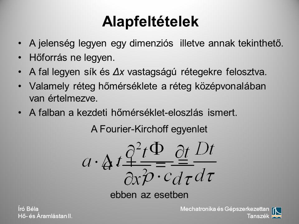 Író Béla Hő- és Áramlástan II. A jelenség legyen egy dimenziós illetve annak tekinthető. Hőforrás ne legyen. A fal legyen sík és Δx vastagságú rétegek