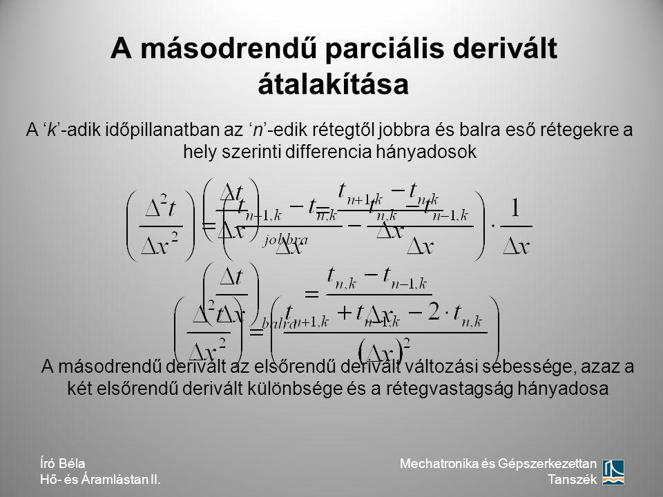 A másodrendű parciális derivált átalakítása A 'k'-adik időpillanatban az 'n'-edik rétegtől jobbra és balra eső rétegekre a hely szerinti differencia h