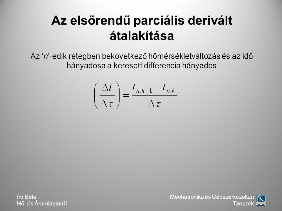 Az elsőrendű parciális derivált átalakítása Az 'n'-edik rétegben bekövetkező hőmérsékletváltozás és az idő hányadosa a keresett differencia hányados M