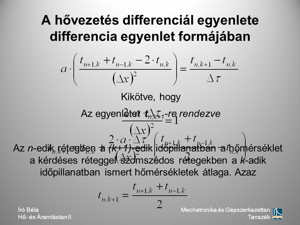 A hővezetés differenciál egyenlete differencia egyenlet formájában Az egyenletet t n,k+1 -re rendezve Kikötve, hogy Az n-edik rétegben a (k+1)-edik id