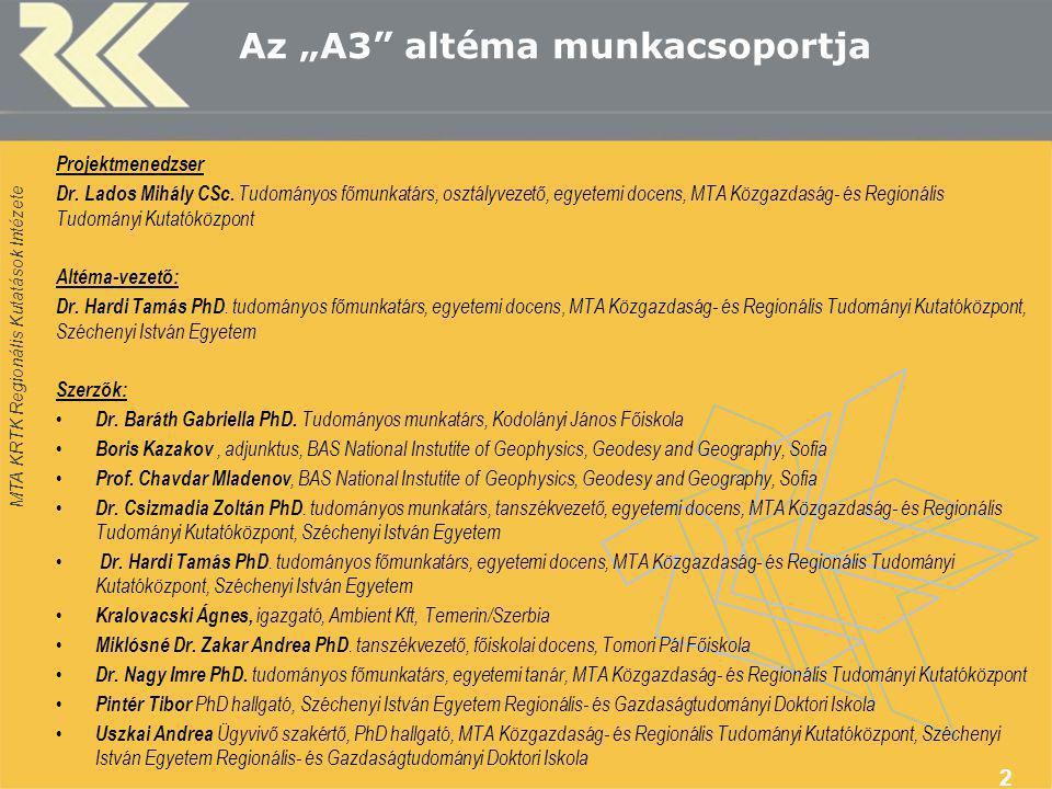 """MTA KRTK Regionális Kutatások Intézete 2 Az """"A3 altéma munkacsoportja Projektmenedzser Dr."""