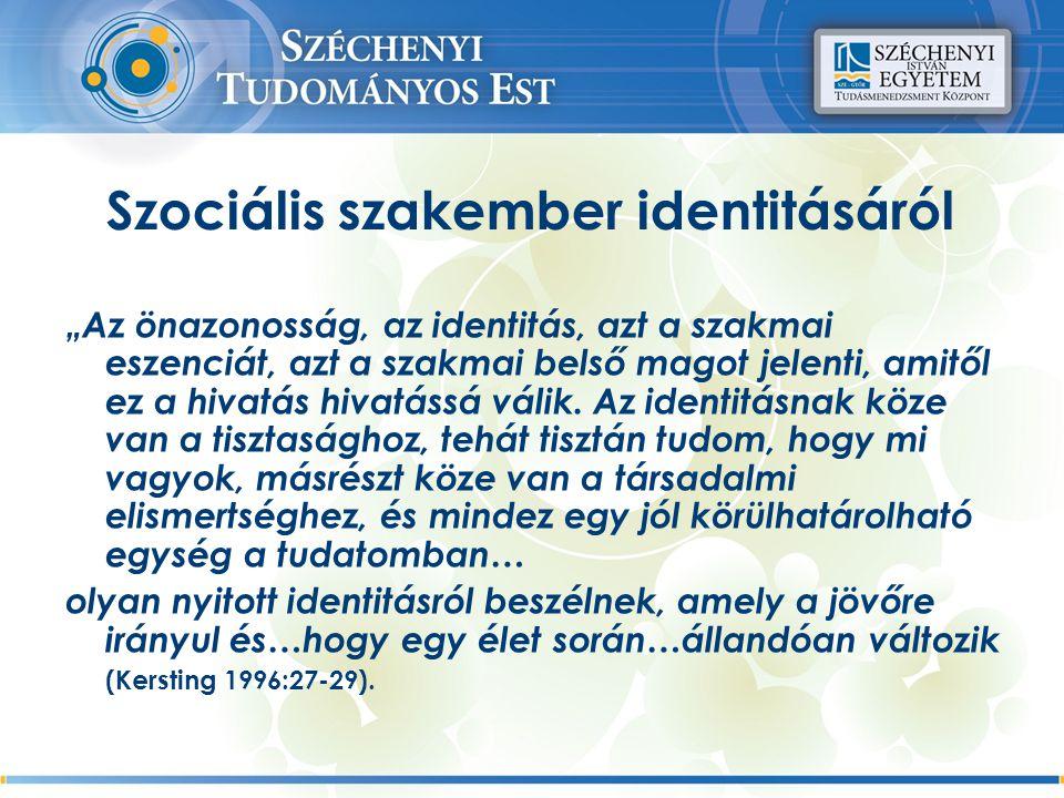 """Szociális szakember identitásáról """"Az önazonosság, az identitás, azt a szakmai eszenciát, azt a szakmai belső magot jelenti, amitől ez a hivatás hivatássá válik."""
