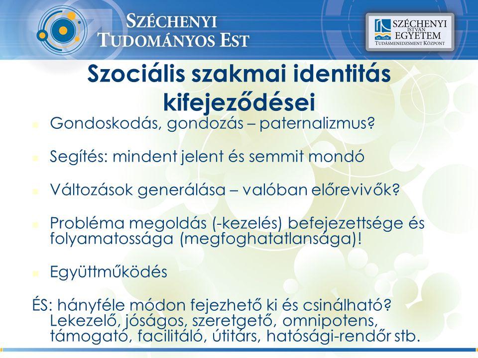 Szociális szakmai identitás kifejeződései Gondoskodás, gondozás – paternalizmus.