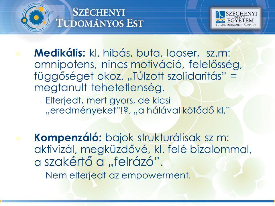 Medikális: kl. hibás, buta, looser, sz.m: omnipotens, nincs motiváció, felelősség, függőséget okoz.