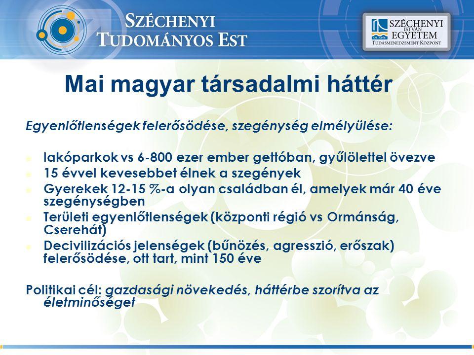 Mai magyar társadalmi háttér Egyenlőtlenségek felerősödése, szegénység elmélyülése: lakóparkok vs 6-800 ezer ember gettóban, gyűlölettel övezve 15 évvel kevesebbet élnek a szegények Gyerekek 12-15 %-a olyan családban él, amelyek már 40 éve szegénységben Területi egyenlőtlenségek (központi régió vs Ormánság, Cserehát) Decivilizációs jelenségek (bűnözés, agresszió, erőszak) felerősödése, ott tart, mint 150 éve Politikai cél: gazdasági növekedés, háttérbe szorítva az életminőséget