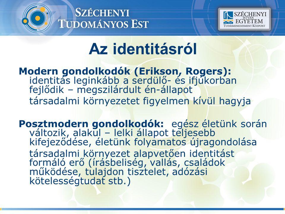Az identitásról Modern gondolkodók (Erikson, Rogers): identitás leginkább a serdülő- és ifjúkorban fejlődik – megszilárdult én-állapot társadalmi környezetet figyelmen kívül hagyja Posztmodern gondolkodók: egész életünk során változik, alakul – lelki állapot teljesebb kifejeződése, életünk folyamatos újragondolása társadalmi környezet alapvetően identitást formáló erő (írásbeliség, vallás, családok működése, tulajdon tisztelet, adózási kötelességtudat stb.)