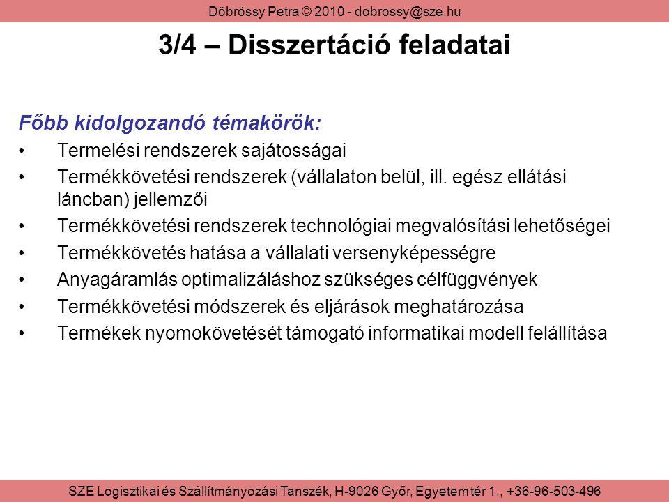 Döbrössy Petra © 2010 - dobrossy@sze.hu SZE Logisztikai és Szállítmányozási Tanszék, H-9026 Győr, Egyetem tér 1., +36-96-503-496 3/4 – Disszertáció fe
