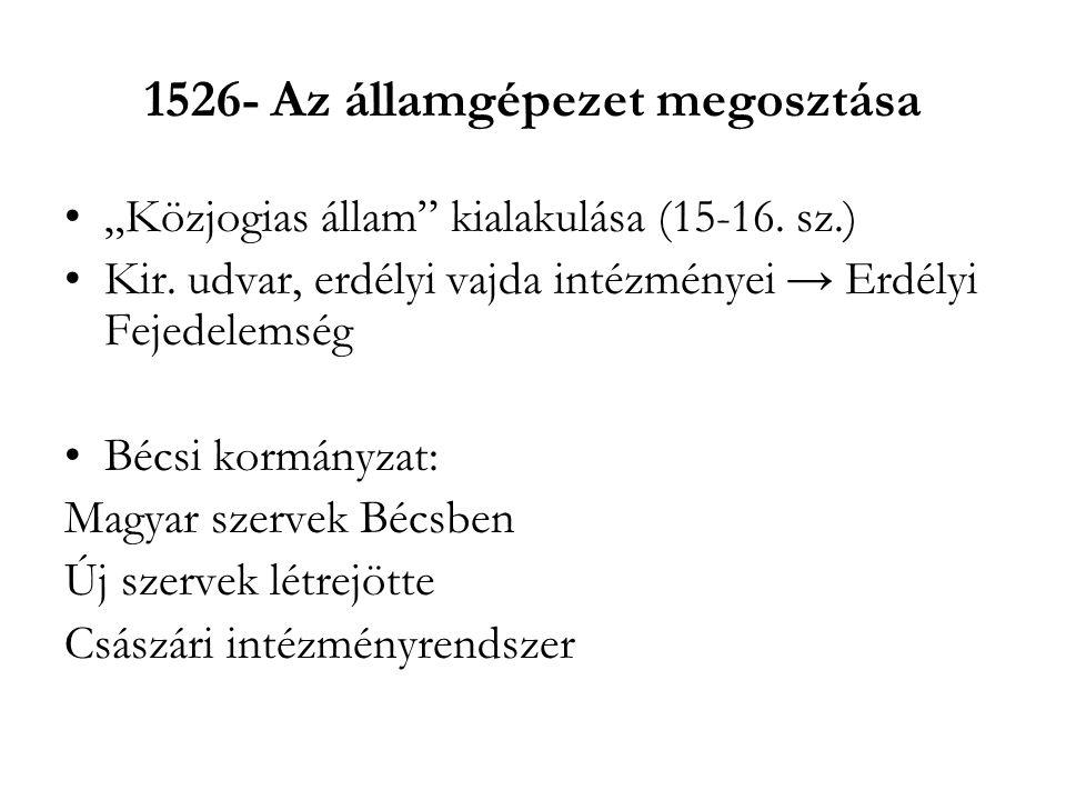 """1526- Az államgépezet megosztása """"Közjogias állam"""" kialakulása (15-16. sz.) Kir. udvar, erdélyi vajda intézményei → Erdélyi Fejedelemség Bécsi kormány"""