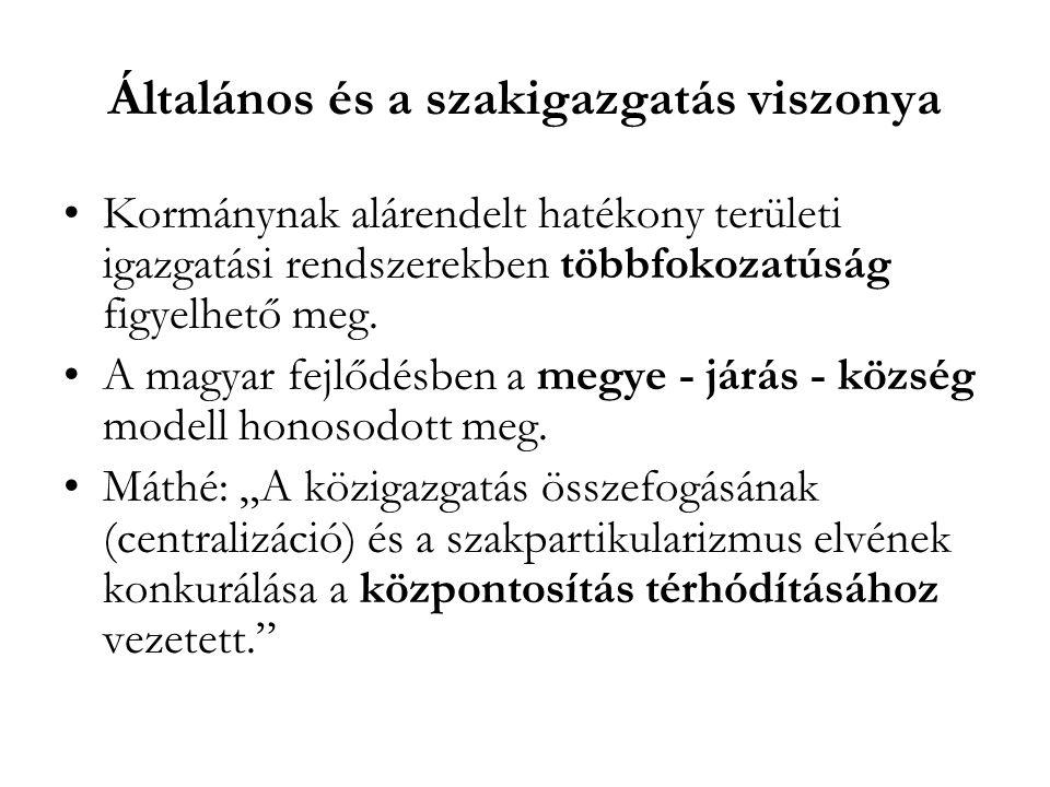 Általános és a szakigazgatás viszonya Kormánynak alárendelt hatékony területi igazgatási rendszerekben többfokozatúság figyelhető meg. A magyar fejlőd