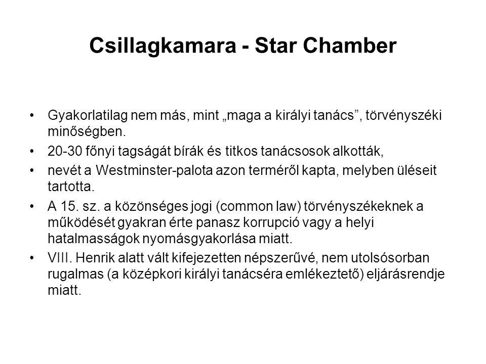 """Csillagkamara - Star Chamber Gyakorlatilag nem más, mint """"maga a királyi tanács , törvényszéki minőségben."""