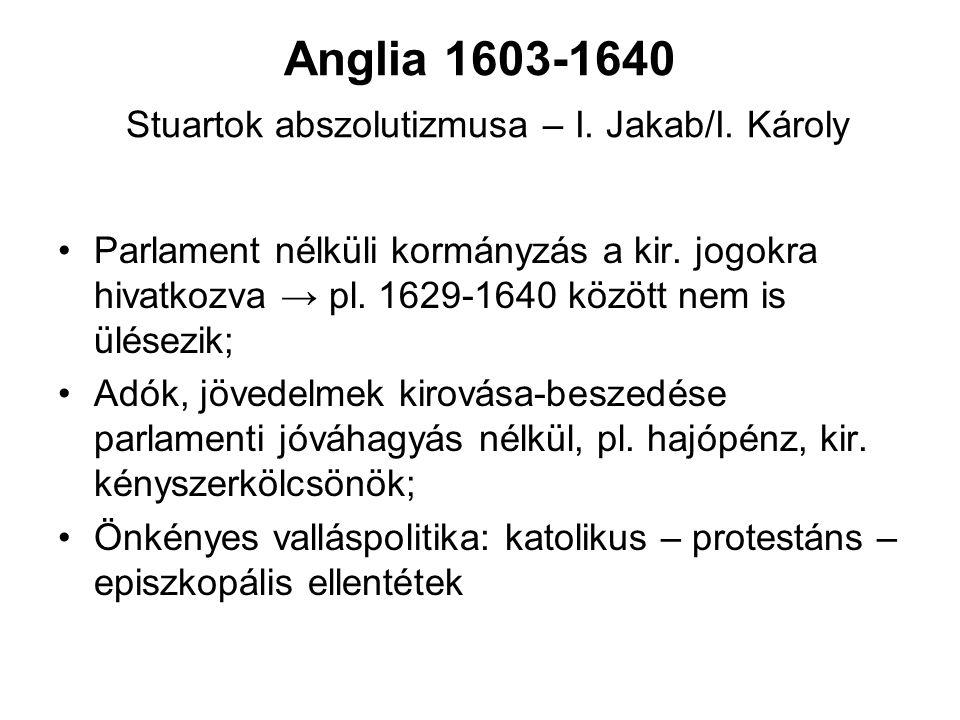 Anglia 1603-1640 Stuartok abszolutizmusa – I.Jakab/I.