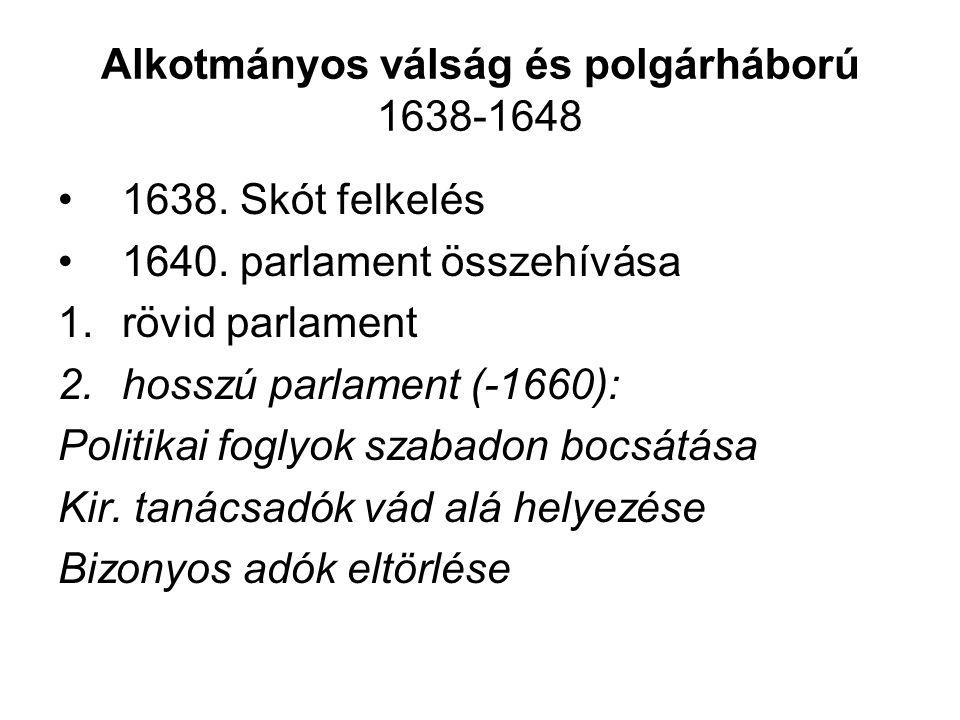 Alkotmányos válság és polgárháború 1638-1648 1638.
