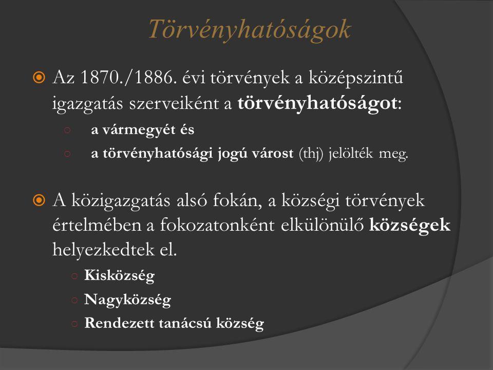  Az 1870./1886. évi törvények a középszintű igazgatás szerveiként a törvényhatóságot: ○ a vármegyét és ○ a törvényhatósági jogú várost (thj) jelölték