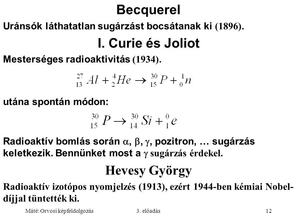 Máté: Orvosi képfeldolgozás3. előadás12 Becquerel Uránsók láthatatlan sugárzást bocsátanak ki (1896). I. Curie és Joliot Mesterséges radioaktivitás (1