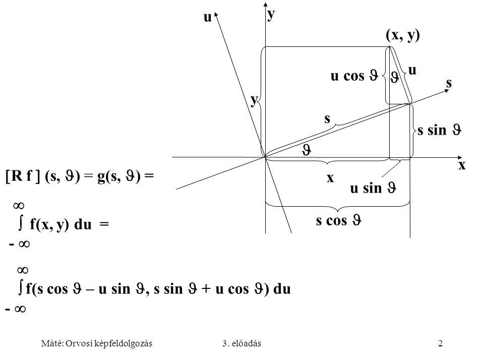 Máté: Orvosi képfeldolgozás3. előadás2   f(s cos – u sin, s sin + u cos ) du -   R f  (s, ) = g(s, ) =   f(x, y) du = -  u y s x s x u sin u c