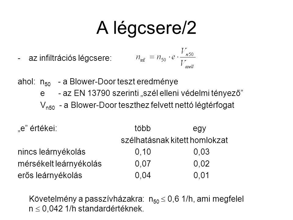 """A légcsere/2 -az infiltrációs légcsere: ahol: n 50 - a Blower-Door teszt eredménye e - az EN 13790 szerinti """"szél elleni védelmi tényező V n50 - a Blower-Door teszthez felvett nettó légtérfogat """"e értékei: több egy szélhatásnak kitett homlokzat nincs leárnyékolás0,100,03 mérsékelt leárnyékolás0,070,02 erős leárnyékolás0,040,01 Követelmény a passzívházakra: n 50  0,6 1/h, ami megfelel n  0,042 1/h standardértéknek."""