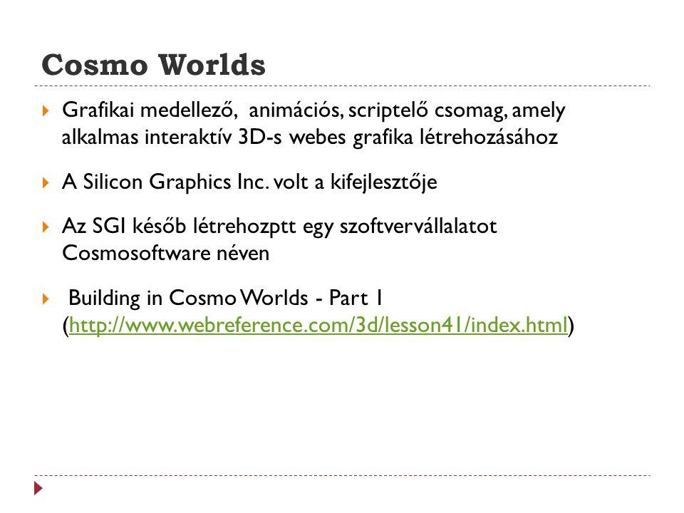 Cosmo Worlds  Grafikai medellező, animációs, scriptelő csomag, amely alkalmas interaktív 3D-s webes grafika létrehozásához  A Silicon Graphics Inc.