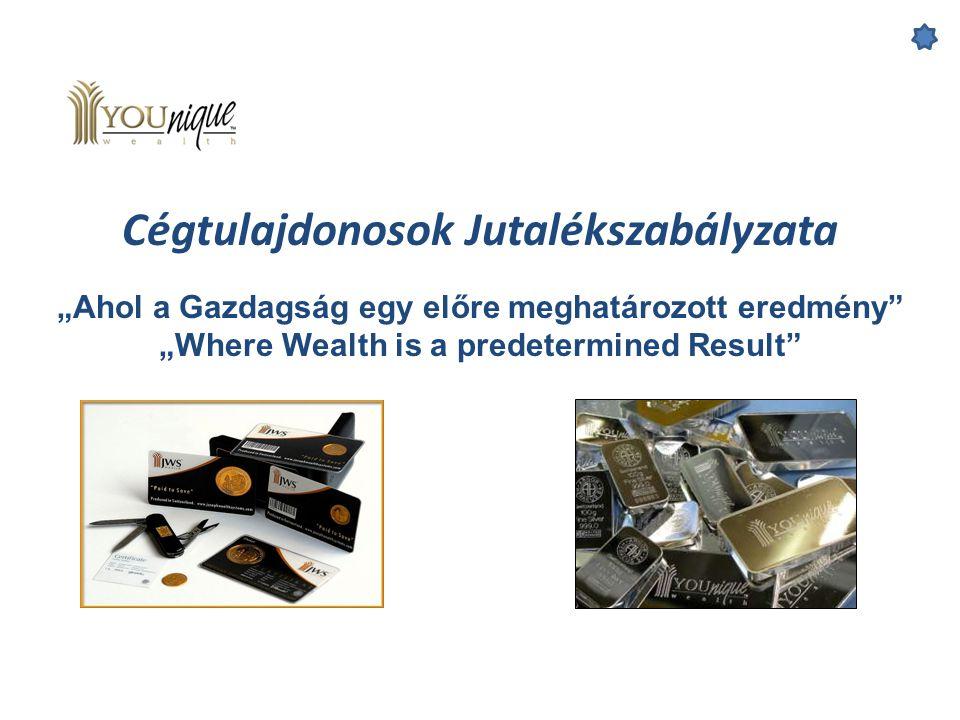 """Cégtulajdonosok Jutalékszabályzata """"Ahol a Gazdagság egy előre meghatározott eredmény"""" """"Where Wealth is a predetermined Result"""""""