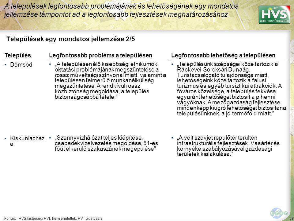 """39 Települések egy mondatos jellemzése 2/5 A települések legfontosabb problémájának és lehetőségének egy mondatos jellemzése támpontot ad a legfontosabb fejlesztések meghatározásához Forrás:HVS kistérségi HVI, helyi érintettek, HVT adatbázis TelepülésLegfontosabb probléma a településen ▪Dömsöd ▪""""A településen élő kisebbségi etnikumok oktatási problémájának megszűntetése a rossz műveltségi színvonal miatt, valamint a településen felmerülő munkanélküliség megszűntetése."""