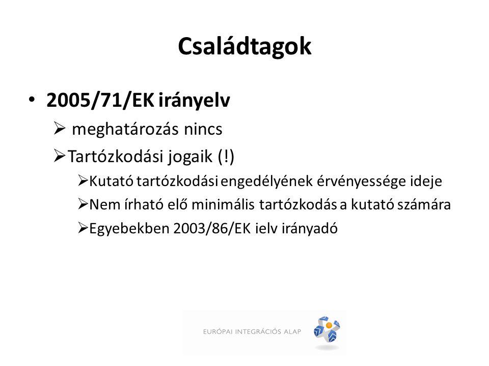 Családtagok 2005/71/EK irányelv  meghatározás nincs  Tartózkodási jogaik (!)  Kutató tartózkodási engedélyének érvényessége ideje  Nem írható elő