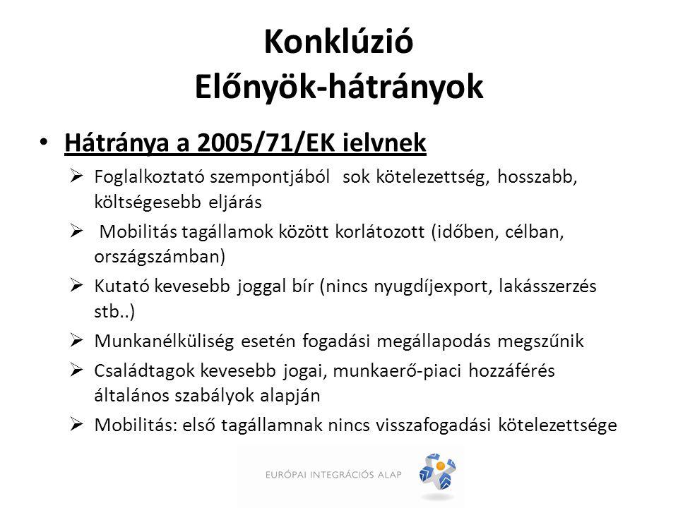 Konklúzió Előnyök-hátrányok Hátránya a 2005/71/EK ielvnek  Foglalkoztató szempontjából sok kötelezettség, hosszabb, költségesebb eljárás  Mobilitás