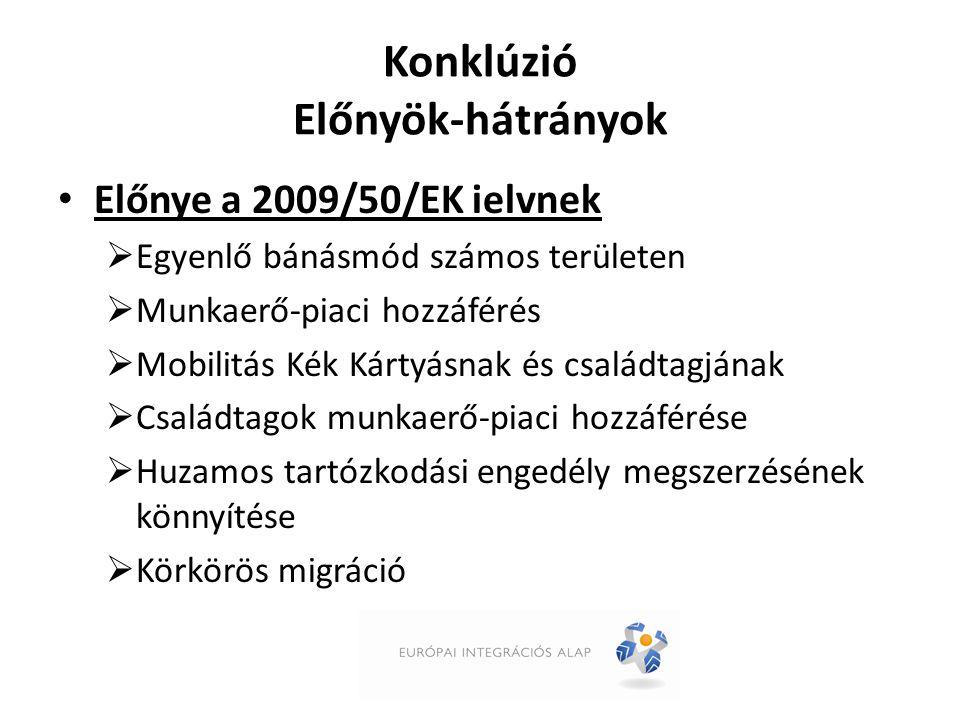 Konklúzió Előnyök-hátrányok Előnye a 2009/50/EK ielvnek  Egyenlő bánásmód számos területen  Munkaerő-piaci hozzáférés  Mobilitás Kék Kártyásnak és családtagjának  Családtagok munkaerő-piaci hozzáférése  Huzamos tartózkodási engedély megszerzésének könnyítése  Körkörös migráció