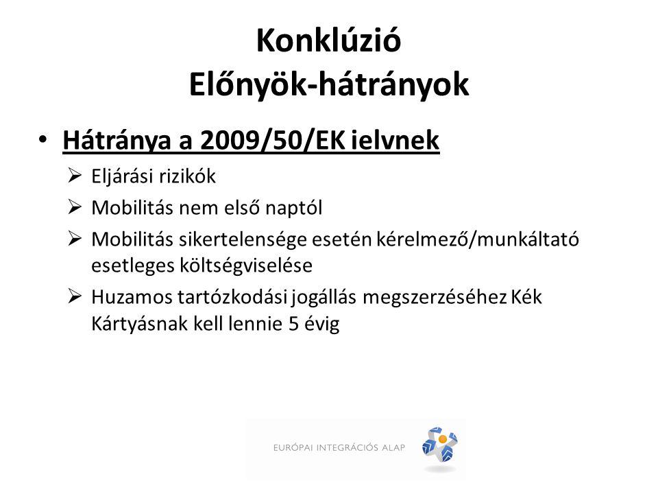 Konklúzió Előnyök-hátrányok Hátránya a 2009/50/EK ielvnek  Eljárási rizikók  Mobilitás nem első naptól  Mobilitás sikertelensége esetén kérelmező/munkáltató esetleges költségviselése  Huzamos tartózkodási jogállás megszerzéséhez Kék Kártyásnak kell lennie 5 évig