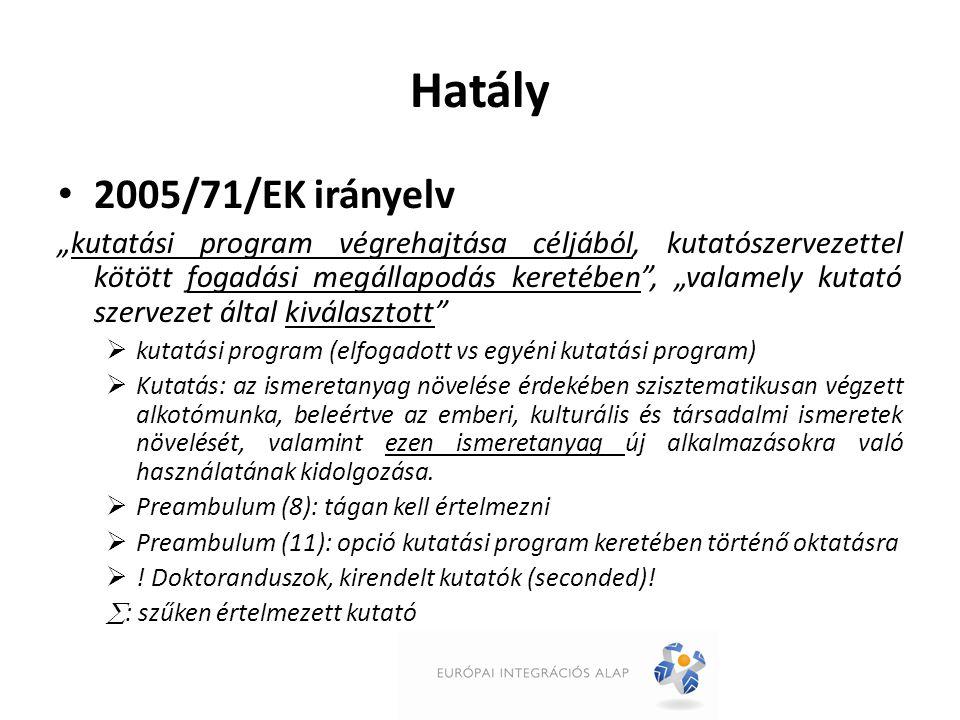 """Hatály 2005/71/EK irányelv """"kutatási program végrehajtása céljából, kutatószervezettel kötött fogadási megállapodás keretében , """"valamely kutató szervezet által kiválasztott  kutatási program (elfogadott vs egyéni kutatási program)  Kutatás: az ismeretanyag növelése érdekében szisztematikusan végzett alkotómunka, beleértve az emberi, kulturális és társadalmi ismeretek növelését, valamint ezen ismeretanyag új alkalmazásokra való használatának kidolgozása."""